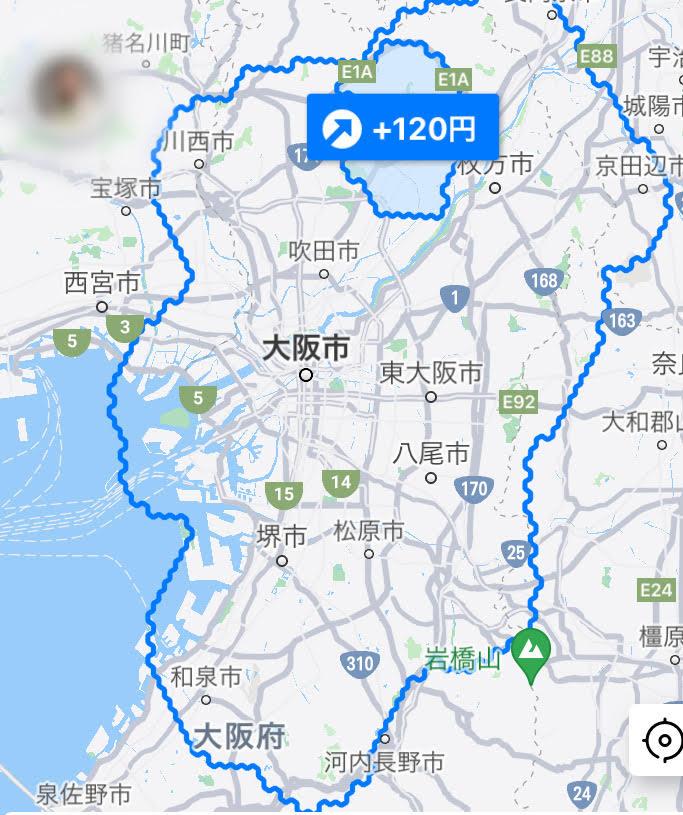 DiDiFood大阪の配達エリア