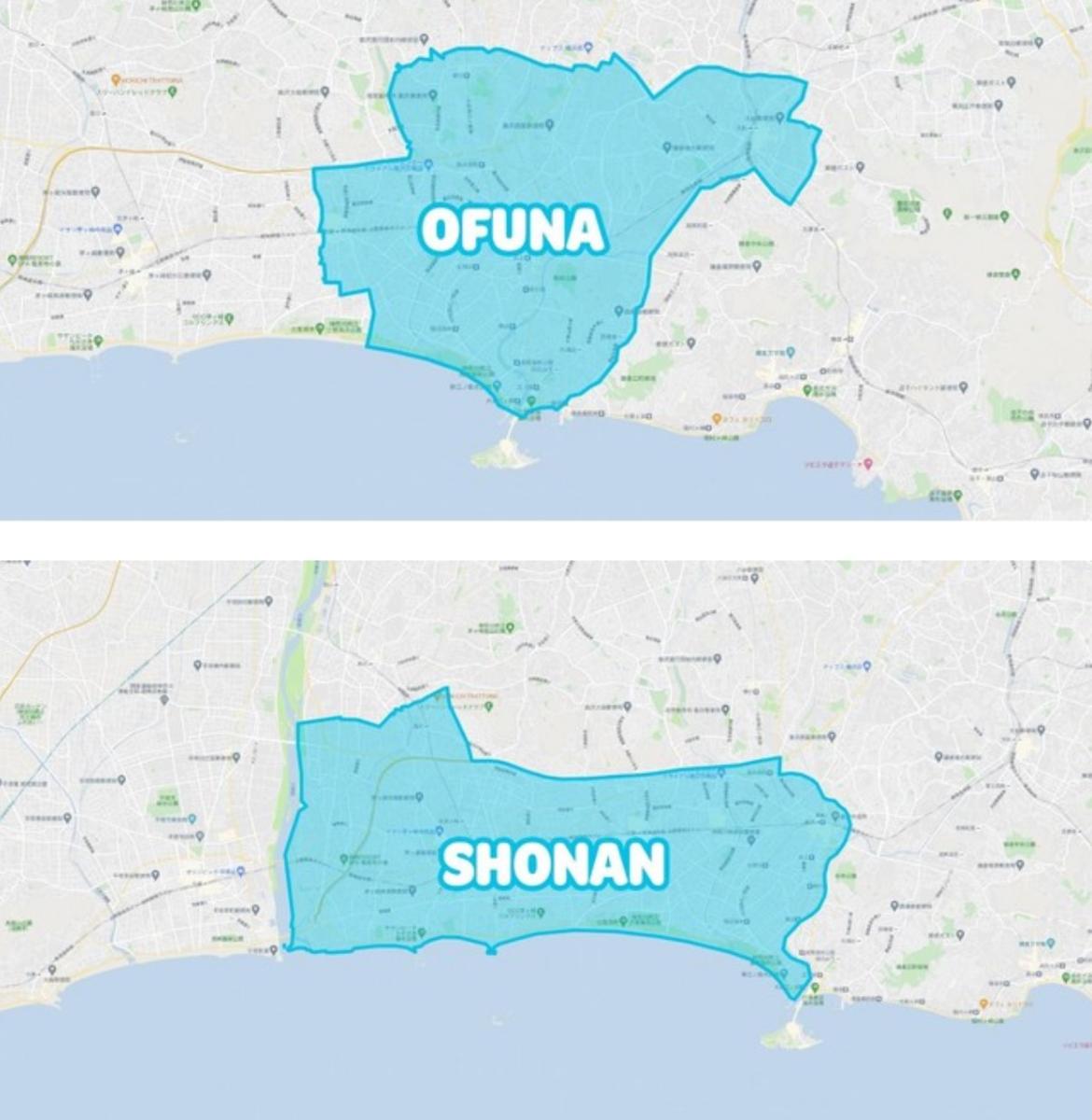 Wolt湘南・大船、 藤沢、茅ケ崎、鎌倉エリアの地図