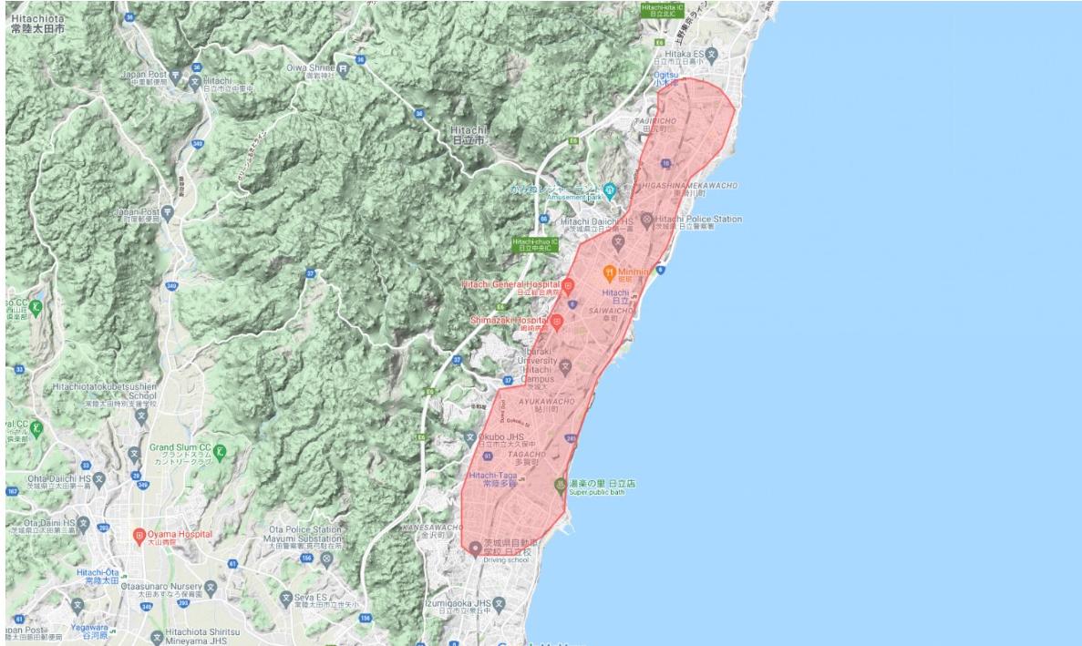 UberEats 日立市のエリア地図です。
