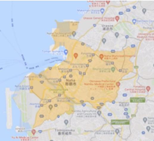 DiDi Food 沖縄のエリア地図_DiDi Food 那覇のエリア地図