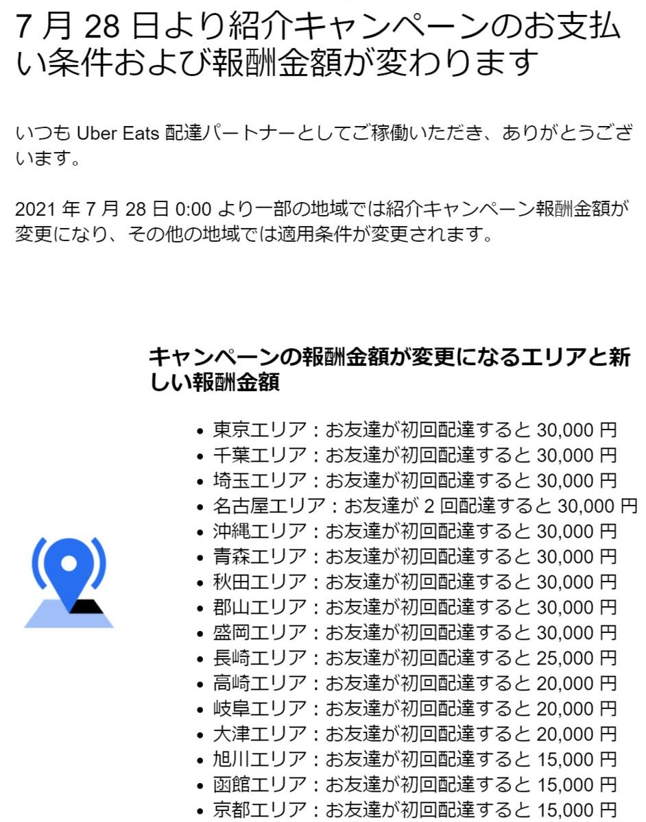 Uber Eats _2021年7月28日時点のUber紹介報酬!! / 紹介キャンペーンの最新情報