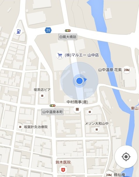 Googleマップ上での山中温泉バスターミナルの位置