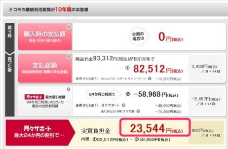 NTTドコモ版Nexus5Xの実質価格