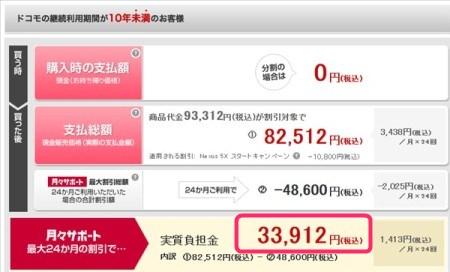NTTドコモ版Nexus5Xの実質価格その2