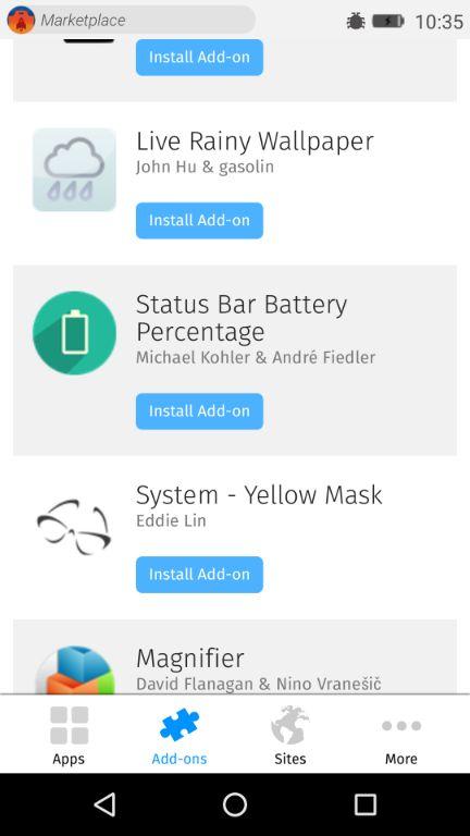 Firefox OSのアドオンインストール