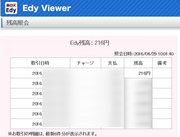 Edy残高照会