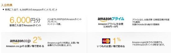 Amazon Master Card ゴールドの特典