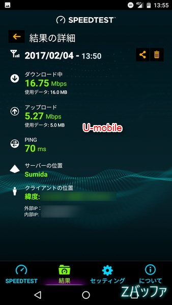 U-mobileの休日の通信速度