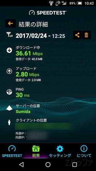UQモバイルの通信速度 2017年2月24日