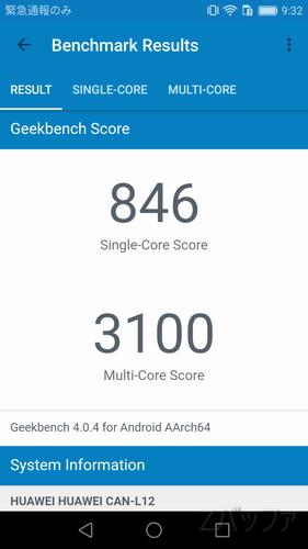 Geekbench4でのnovaベンチマーク結果