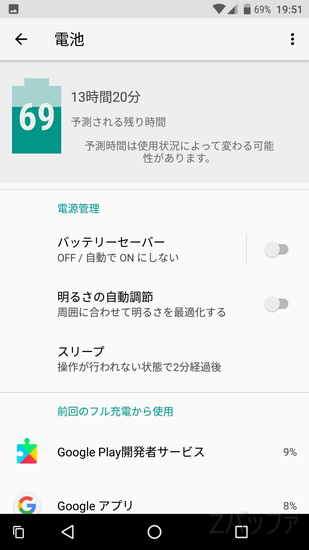 Android Oバッテリー管理画面