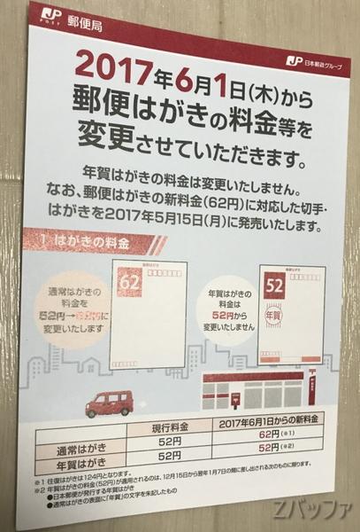 日本郵便2017年6月からの値上げ通知のはがき