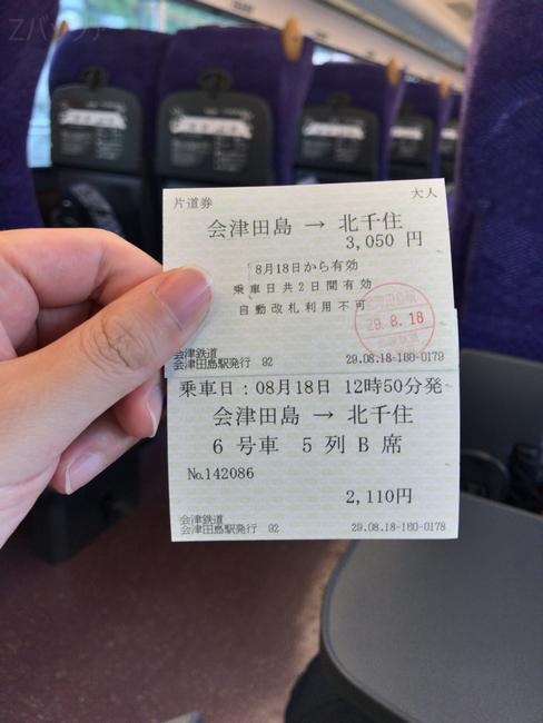 特急リバティ乗車券と特急券