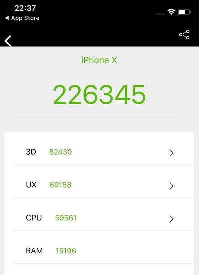 AnTuTu benchmarkを使ったiPhone Xのベンチマーク結果