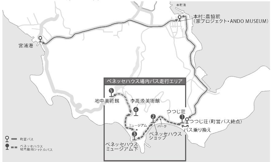 直島のバス運行ルート