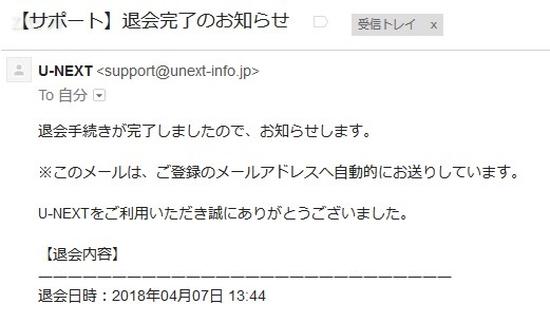 U-NEXTのアカウント削除と退会が完了した事を知らせるメール