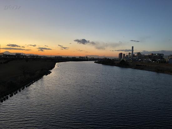 iPhone8で撮影した多摩川の写真