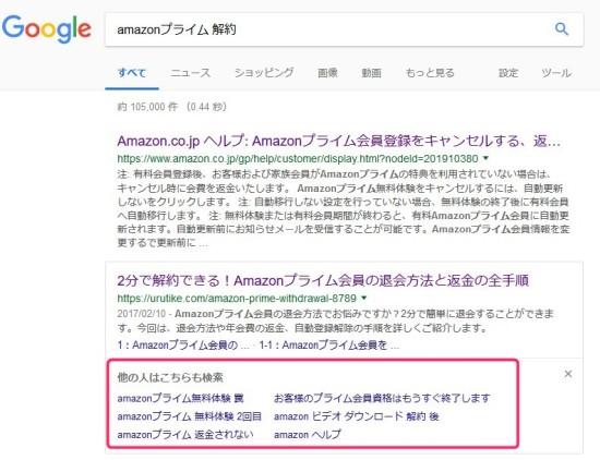 Google検索結果に表示される「他の人はこちらも検索」