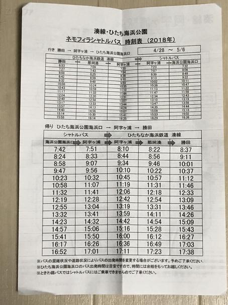 阿字ヶ浦駅からひたちなか海浜公園行きバスの時刻表
