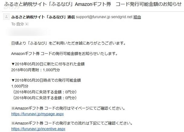 ふるなびからのAmazonギフト券発行のお知らせメール