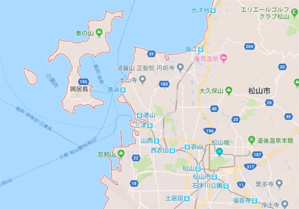 興居島の場所をグーグルマップで確認