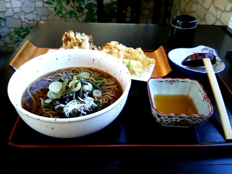 今日のお昼ご飯!山菜蕎麦と、舞茸、かき揚げの天ぷらの組み合わせで