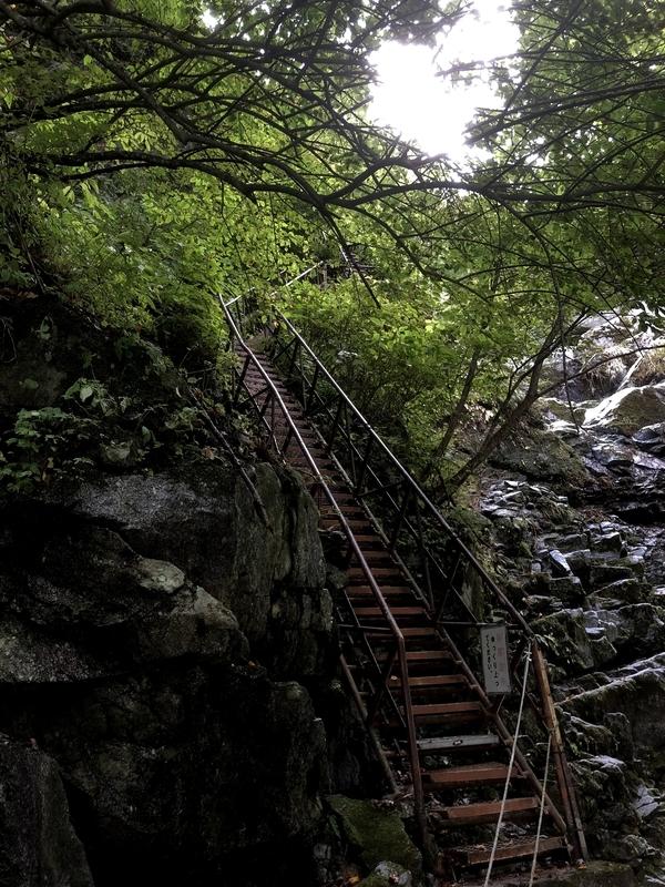精進ヶ滝 はしご 階段
