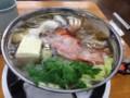 ぼっち鍋なう。キンメは鍋にしても美味いのー