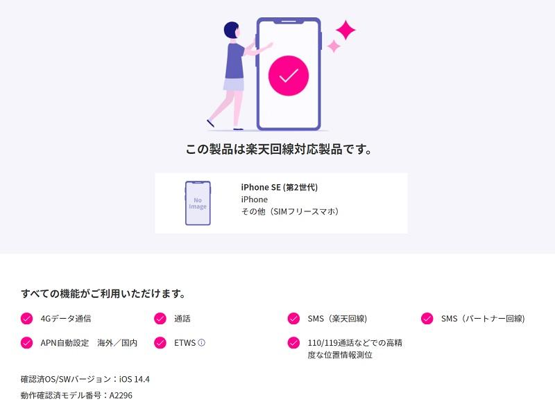 iPhone SE(2020)x楽天モバイル