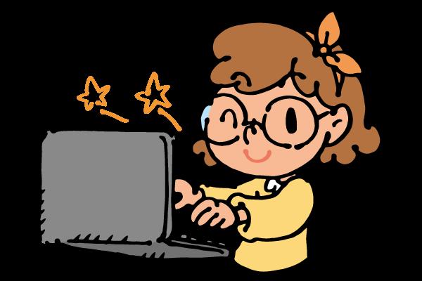 パソコンを操作する女の子の絵