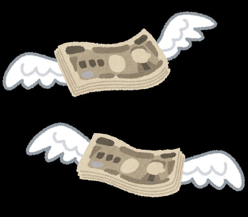 お金に羽が生えて飛んで行く絵