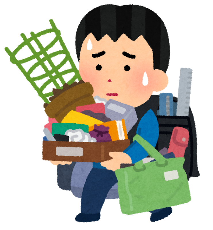 たくさんの荷物を持っている小学生(男子)の絵
