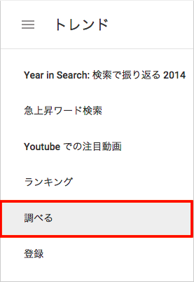 Googleトレンドのメニュー