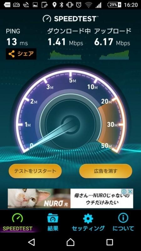 中継器なしの部屋1の通信速度(802.11n)