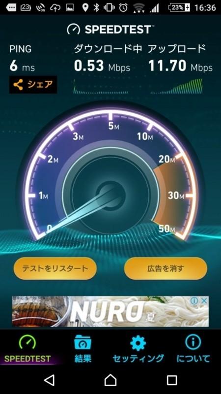 中継器なしの部屋1の通信速度(802.11ac)