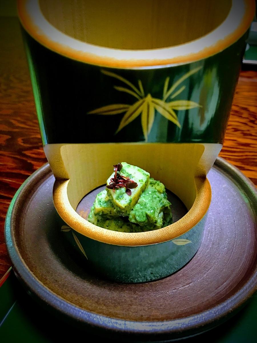 器も竹でできた筍料理 | 春の京都で筍を味わう「筍亭」