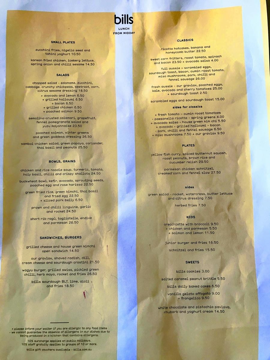 Lunch menu | 本場オーストラリアのbillsで食べてみる