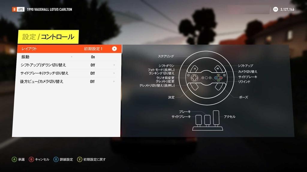 ハンコン設定画面「Forza Horizon 2」
