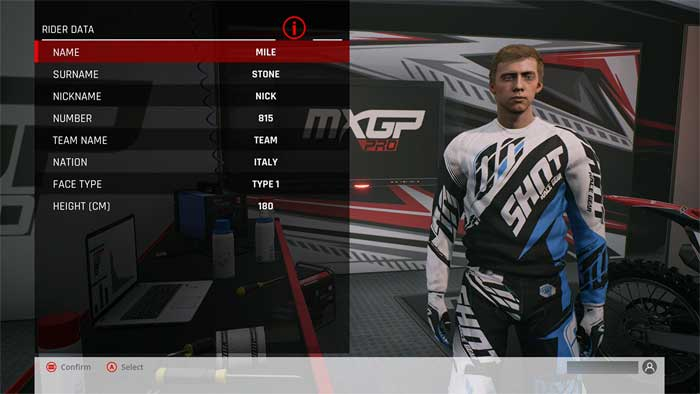 「MXGP Pro」プレイヤー設定画面