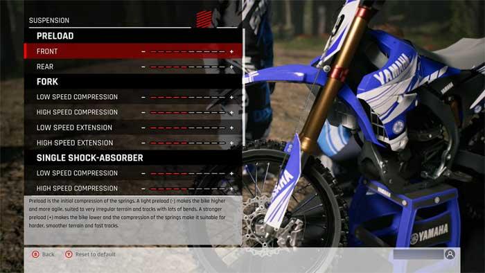 「MXGP Pro」マシンセッティング画面