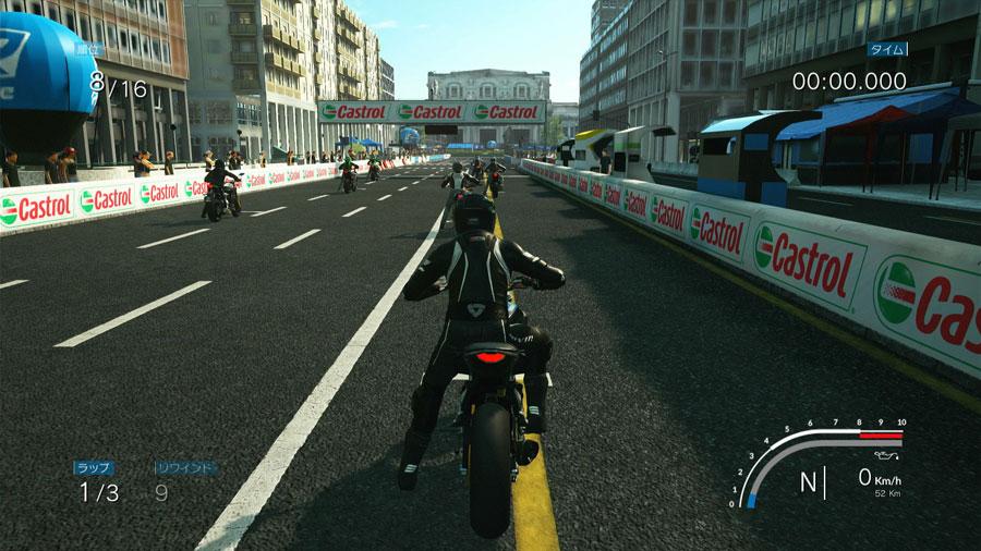 バイクゲーム「RIDE」のレース画面