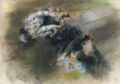 [デッサン][絵]死と乙女 小品、水彩パステル