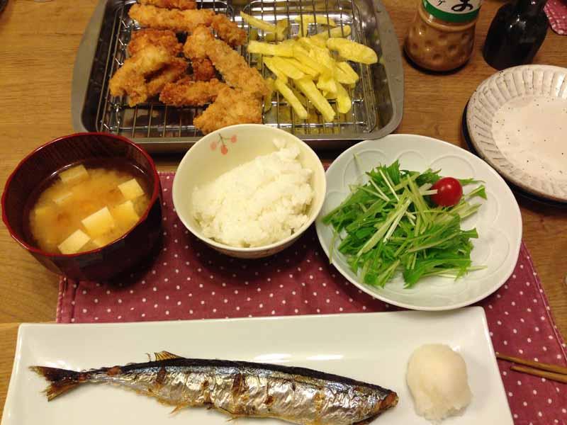サンマの塩焼きの夜ご飯