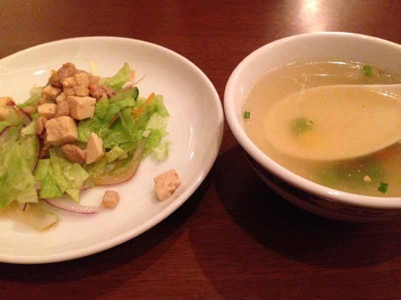 ジャイタイ ナスカのランチスープ、サラダ