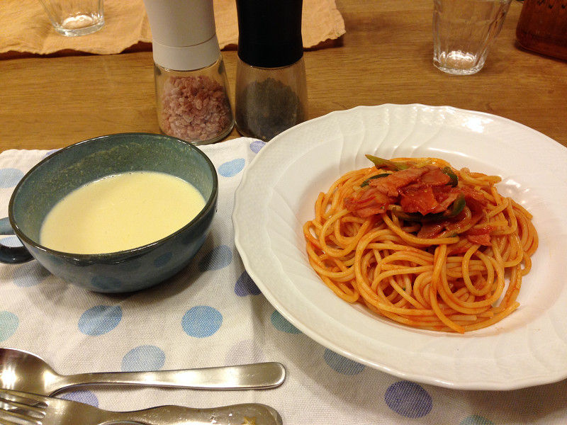 スパゲティナポリタンの30分で晩御飯
