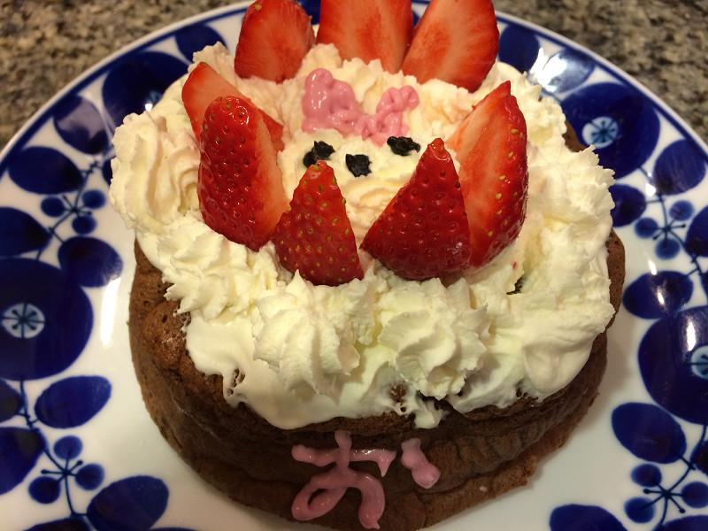 子どもと手作りチョコケーキ
