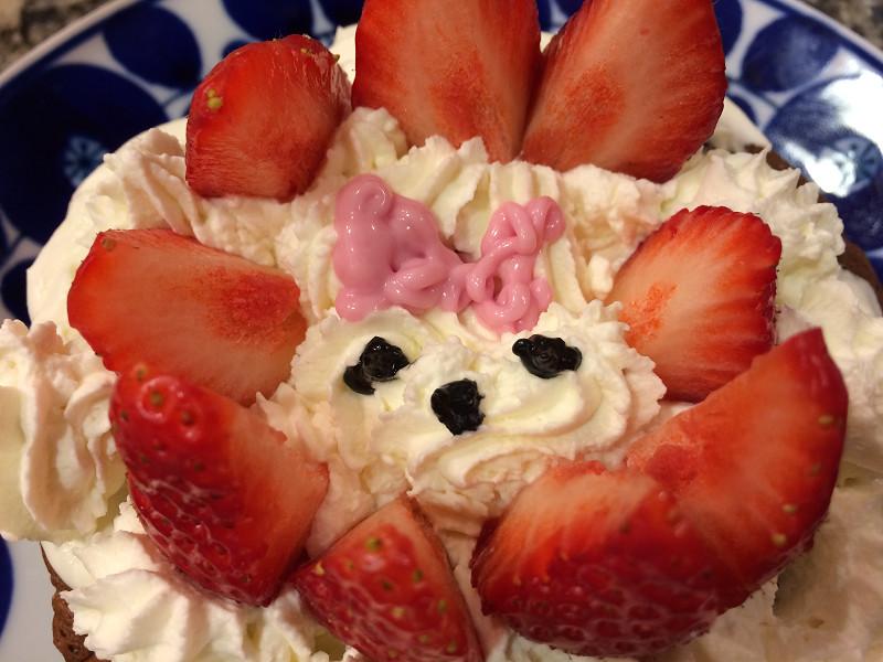 「キラキラ☆プリキュアアラモード」でやっていた、「アニマルスイーツレシピ」の「うさぎショートケーキ」風
