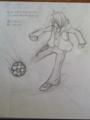 サッカー少年で絵練習