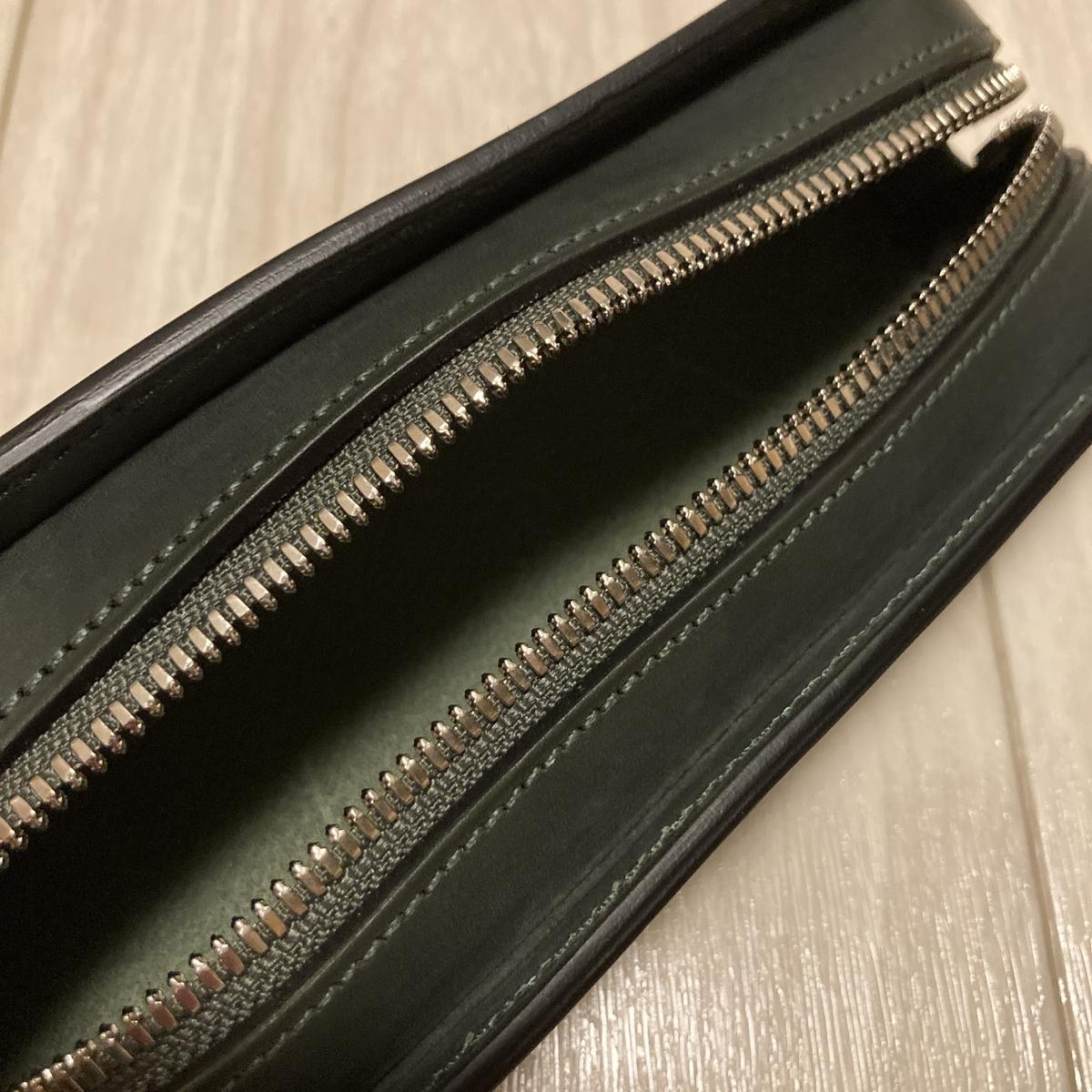 万双 ペンケース 革 革製品 レザー ブライドル 財布 長財布 双鞣和地 ダークグリーン 小銭 金運
