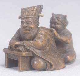 閻魔鬼木彫根付(江戸時代の漆細工)